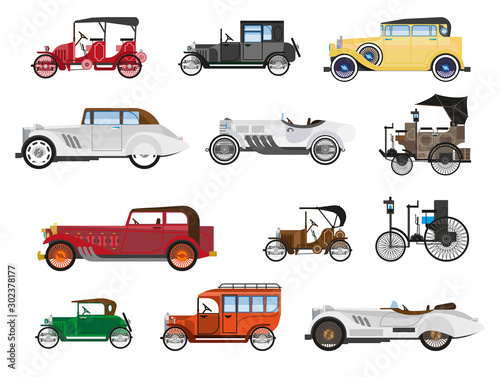 Retro vehicles, vintage cars isolated icons, automobile industry history