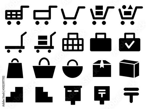 Fotografía カート、荷台、運送、バッグ、郵便ポストなどショッピングや通販に関するアイコンセット