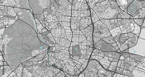 Canvas Print Detailed map of Madrid, Spain