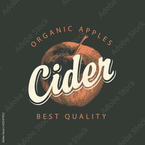 Vector label for Apple cider with a realistic image of an apple and calligraphic Fototapet