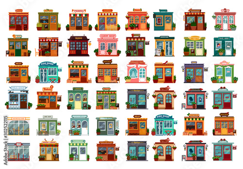 Canvas Print Set of isolated shop facade or store buildings