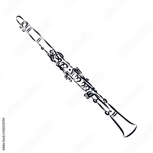 Valokuva trumpet isolated on white background, clarinet sketch, music instrument