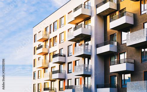 Part of Modern residential flat apartment building exterior Tapéta, Fotótapéta