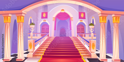 Fototapeta Castle staircase, upward stairs in palace entrance with pillars, statues, red ra