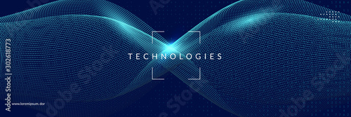 Deep learning concept. Digital technology abstract background. Artificial intelligence and big data. Tech visual for energy template. Modern deep learning backdrop.