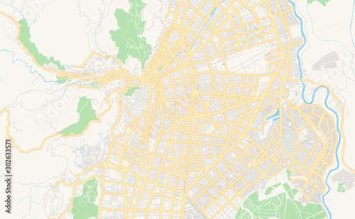 Obraz na plátně Printable street map of Cali, Colombia