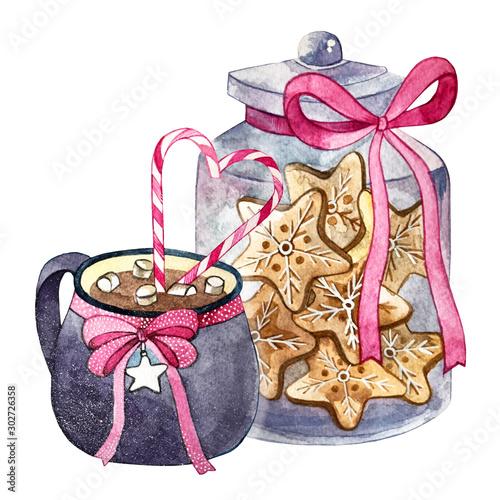 Slika na platnu marshmallow cocoa and cookies in a glass jar