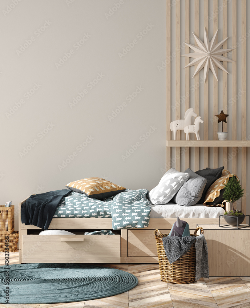 Wall mock up background in children room interior decorated for new year, 3D render <span>plik: #302734155   autor: artjafara</span>