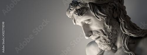 Canvas Print Banner - Marble sculpture of Jesus Christ.