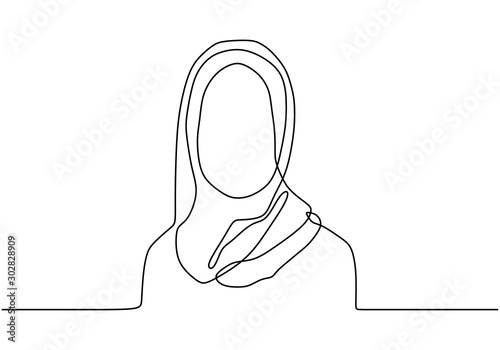 Canvas Print continuous single drawn one line girl muslim woman