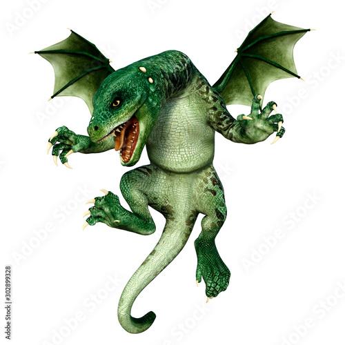 Obraz na plátne 3D Rendering Fairy Tale Dragon on White