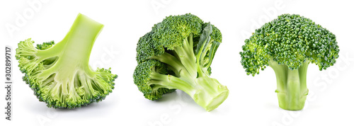 Broccoli isolated. Broccoli on white. Set of fresh broccoli.