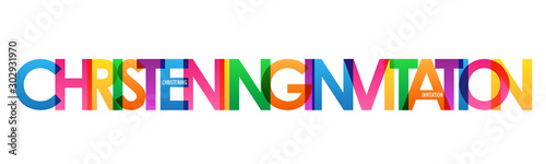 Fotografija CHRISTENING INVITATION colorful vector typography banner