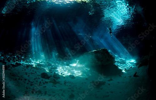 Canvas Print cenote Mexique  plongee
