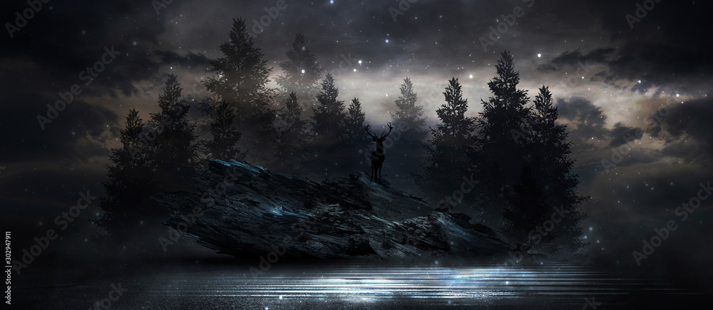 Futuristic night landscape with abstract landscape and island, moonlight, shine. Dark natural scene with reflection of light in the water, neon blue light. Dark neon background. 3D illustration <span>plik: #302947911 | autor: MiaStendal</span>