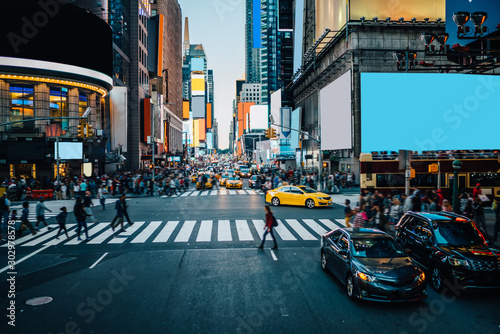 Famous Times Square landmark in New York downtown with mock up billboards for advertising and commercial information content Fototapeta