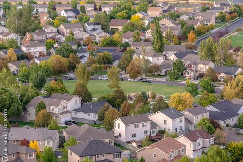 Obraz na plátně Open park or sports field in Utah Valley suburbs