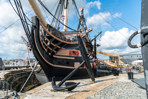 Canvas Print HMS Victory the Admiral Horatio Nelson's flagship at the Battle of Trafalgar in 1805 at Portsmouth Historic Dockyard, UK