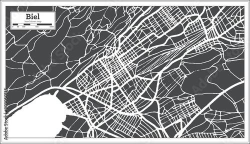 Photo Biel Switzerland City Map in Retro Style. Outline Map.