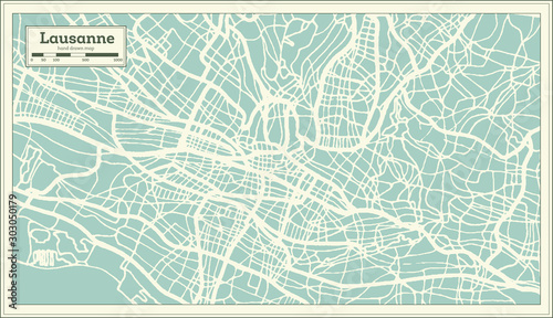 Photo Lausanne Switzerland City Map in Retro Style. Outline Map.