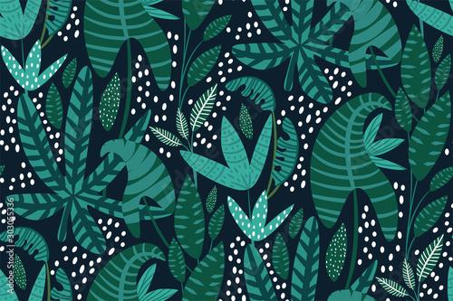 Naklejki na drzwi Modny, ilustrowany wzór roślin i tropikalnych liści