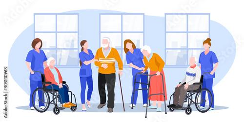 Obraz na plátně Nurse taking care about seniors people in hospital