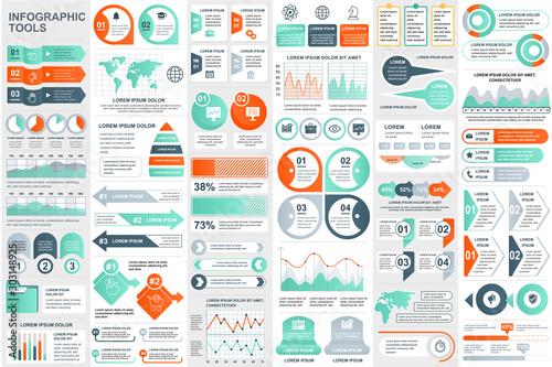 Bundle infographic elements data visualization vector design template Poster Mural XXL
