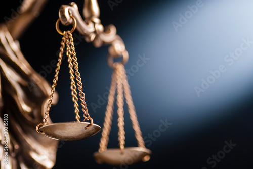 Stampa su Tela Close up on the scales of justice