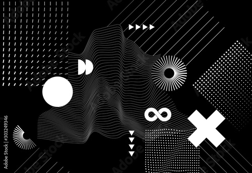 Fotografia, Obraz Vector modern abstract background with halftone geometric shapes and textures