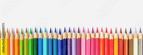 Fotografie, Tablou Color pencils isolated on white background close up with Clipping path