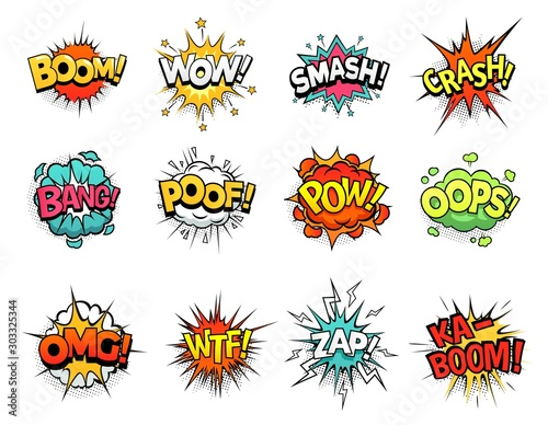 Kreskówka komiks znak wybuch chmury. Dymek, wyrażenie znaku boomu i ramki tekstowe pop-artu. Wyrażenia memów komiksowych, etykieta pęcherzyków książki superbohatera Zestaw symboli na białym tle wektor