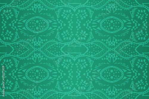 Fototapeta Shiny green art with abstract seamless pattern