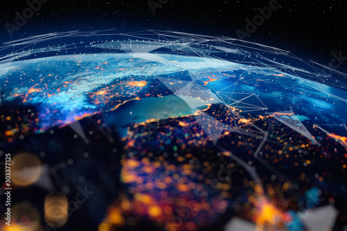 Communication technology for internet business. Global world network and telecommunication on earth cryptocurrency and blockchain and IoT. Elements of this image furnished by NASA #303377125