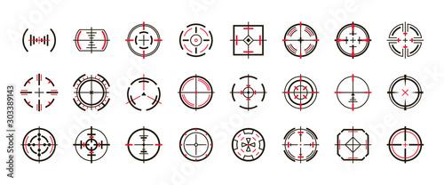 Fotografie, Obraz Sniper sight vector black set icon
