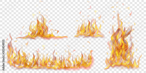 Wall mural Set of translucent burning campfires of flames and sparks on transparent background. For used on light backgrounds. Transparency only in vector format