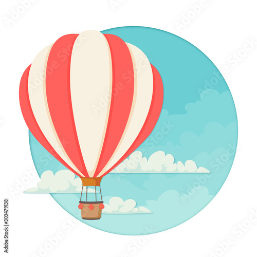 Carta da parati Red and white striped hot air balloon with clouds and a blue sky the the background