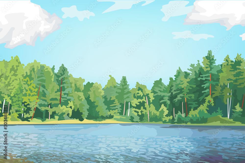 Tropical forest behind the water lake <span>plik: #303488381 | autor: hanithework</span>