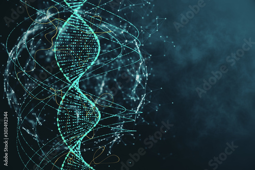 Photo Abstract green DNA