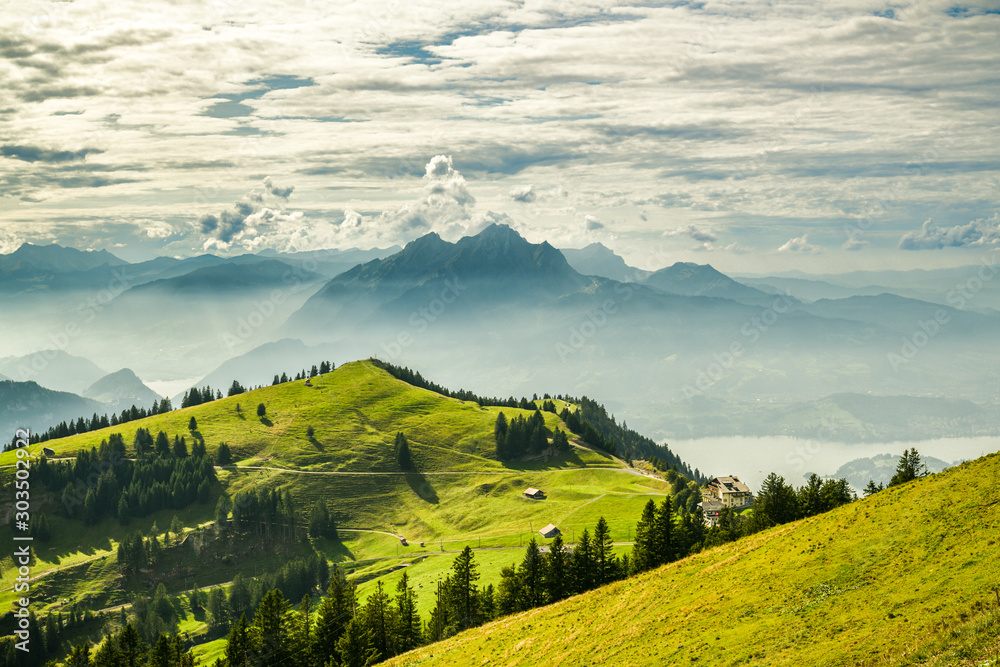 Beautiful view on Lake Lucerne, Mount Pilatus and Swiss Alps from top of Rigi Kulm