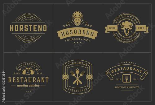 Fényképezés Restaurant logos templates set vector illustration good for menu labels and cafe