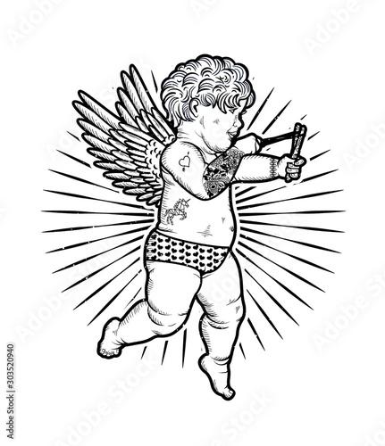 Fotografía Cupid with Slingshot. Vector Illustration. Valentine s Day.