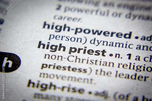 Obraz na plátně Word or phrase High priest in a dictionary.