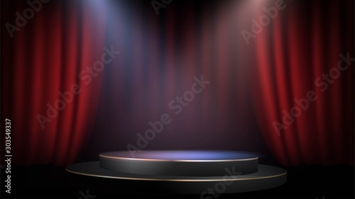 Fotografie, Tablou Empty scene with a red curtain and spotlights