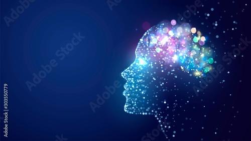 Valokuva Human head with a luminous brain network, consciousness, artificial intelligence