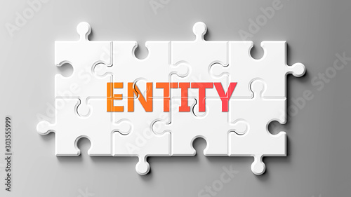 Photo Entity complex like a puzzle - pictured as word Entity on a puzzle pieces to sho