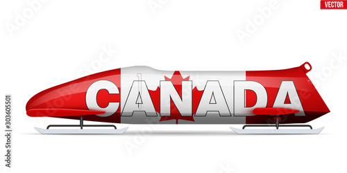 Canvas Print Bob sleighs with Canada flag and text