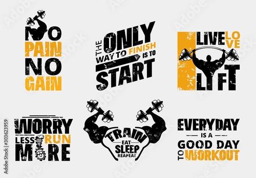 Obraz na plátně Everyday no pain no gain workout poster set vector illustration