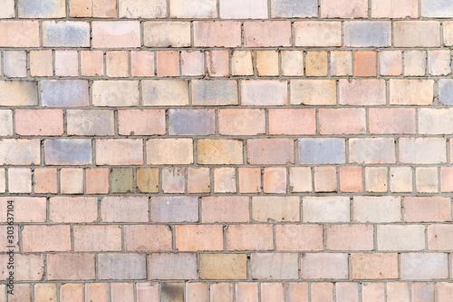 Texture of old long brick, seamless patern of clinker brick, multicolored old 19 Fototapeta