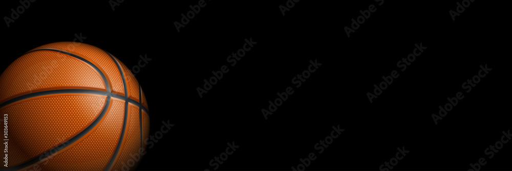 Turniej koszykówki projekt plakatu pusty transparent z 3d realistyczne błyszczące piłki na białym na czarnym tle z miejscem na tekst. pozioma pusta Ilustracja Szablon koszykówki realistyczna pomarańczowa piłka <span>plik: #303649153   autor: ASEF</span>