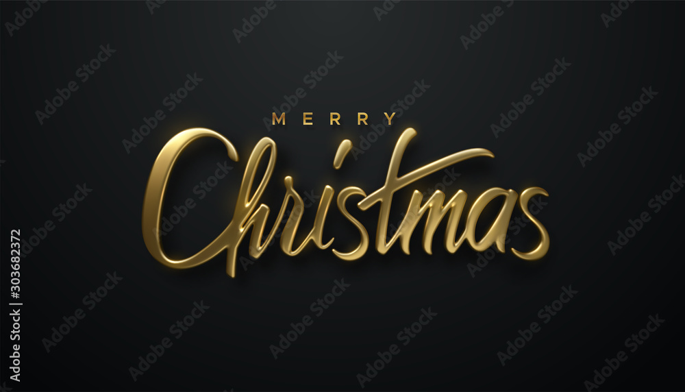 Holiday Christmas lettering. Vector 3d illustration of realistic golden sign. Calligraphic banner design. Winter festive event. Merry Christmas. <span>plik: #303682372   autor: maximmmmum</span>